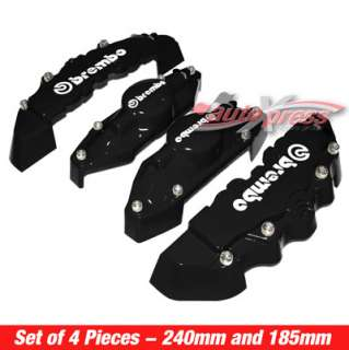 Brembo Style Brake Caliper Covers FRONT+REAR BLACK 4PC