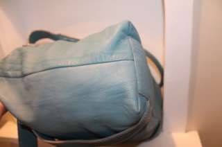 INNUE Made In Italy L Supple Pebbled Aqua Blue Leather Satchel