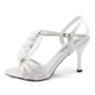 white satin rose rhinestones wedding dress heels sandals shoes