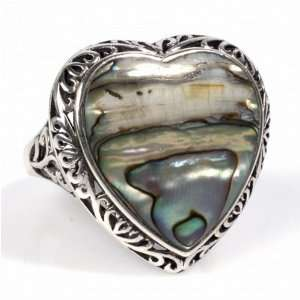 STERLING SILVER RING with Abalone 26mm Jewelry