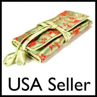 BAG Roll Case Pouch Carrying Zipper Brocade Fabric Green NEW