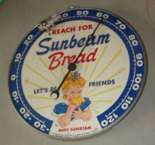 Old Reach for Sunbeam Bread PAM Thermometer Sign w/ Little Miss