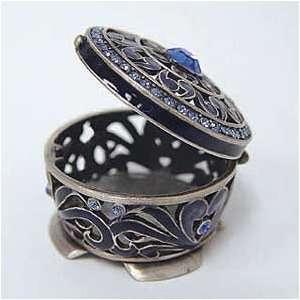 Blue Persian Byzantine Box Swarovski Crystals Jewelry, Trinket or Pill