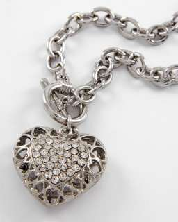 Silver Tone Rhinestone Toggle Closure Heart Necklace or Bracelet