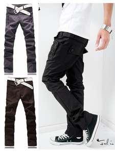 New Style Mens Students Trendy Korean Slim Fit Pocket Design Casual