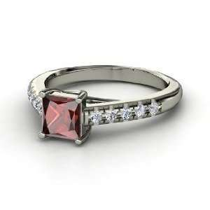 Avenue Ring, Princess Red Garnet Platinum Ring with