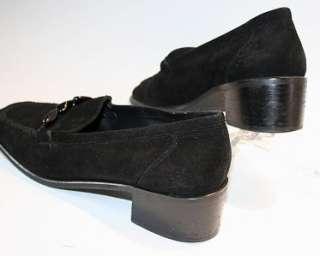 Stuart Weitzman Black Suede Loafers Shoes 9 M Spain EUC