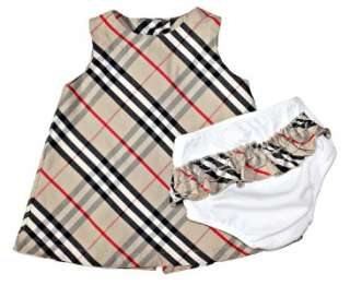 kd Burberry ~ Nova Check Infant Girls Jumper Dress & Ruffle Bottoms 74