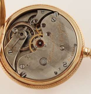 Tiffany Co Solid 18k Yellow Gold Engine Turned 0S Hunter Pocket Watch