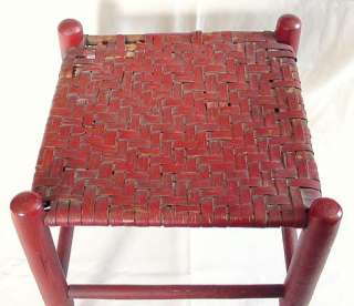 FABULOUS ANTIQUE SHAKER STOOL BENCH LIPSTICK RED PAINT WOVEN SPLIT ASH