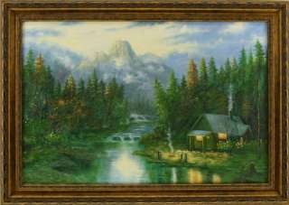 Cabin in the Woods Mountains Stream FRAMED OIL PAINTING