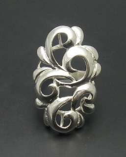STYLISH LONG STERLING SILVER RING 925 NEW SIZE 4  10
