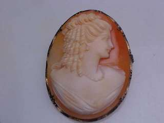CARVED SHELL CAMEO PIN BROOCH PENDANT 800 FINE SILVER