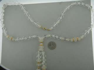 VINTAGE LARIAT CAMPHOR GLASS, CLEAR CRYSTAL & GOLD TONE BEADS NECKLACE