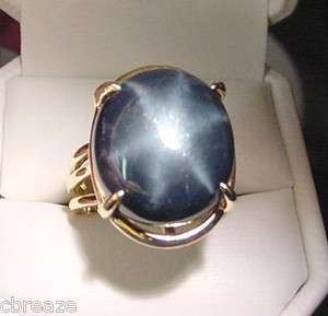 HUGE GENUINE BLUE STAR SAPPHIRE VINTAGE 14K GOLD RING