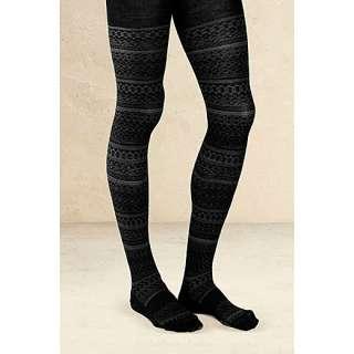 Smartwool for Athleta Black Estonia Fair Isle Merino Wool Tights