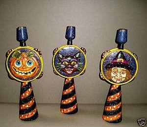 SPOOKY HALLOWEEN CANDLESTICKS black cat, witch, pumpkin