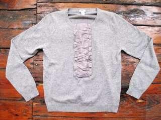 Crew Cashmere Ruffle Sweater Gray Size XL