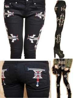 womens ladies funky EMBROIDERED skinny jeans BLACK 26 27 28 29 30 UK 6