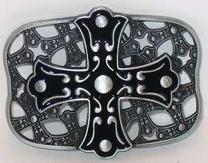 CELTIC IRISH KNOT BLACK ENAMEL CROSS MUST HAVE NEW BELT BUCKLE