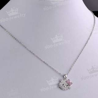 Cute HelloKitty Cat Bow knot Rhinestone Ring Pendant Necklace Set