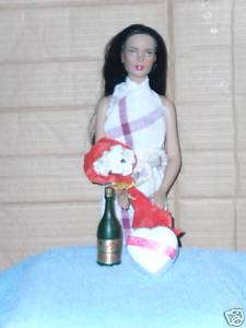 Bottle of Champaigne Bouquet of Roses Heart shaped box