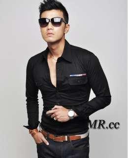 Mens Korean Slim Fit Casual Fashion Long Sleeve Shirt