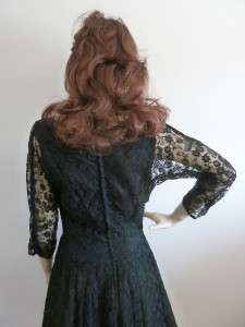 VINTAGE 1940s MARSHALL & SNELGROVE BLACK LACE COCKTAIL DRESS SATIN