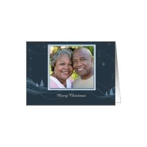 Blue Christmas Scene Photo Card Card Health & Personal