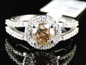 10K WHITE GOLD LADIES CHOCOLATE ROUND CUT DIAMOND WEDDING ENGAGEMENT