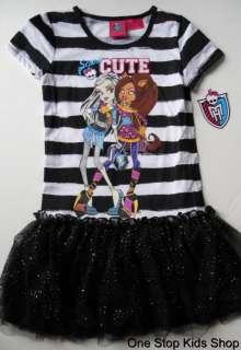 MONSTER HIGH Girls 6 6X 7 8 10 12 Set DRESS Outfit Shirt Tutu Skirt