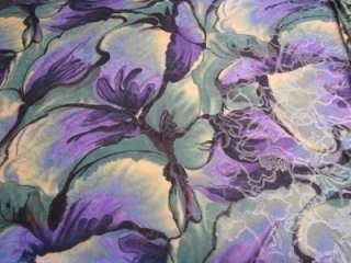 YARDS STRETCH POLY LYCRA FABRIC Lavender grn yellow swirl w/slvr