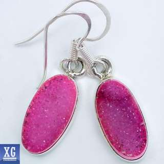 SE14185 PINK AGATE DRUZY 925 STERLING SILVER EARRINGS JEWELRY
