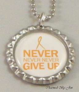 New MS MULTIPLE SCLEROSIS Awareness NEVER GIVE UP Bottle Cap Ball