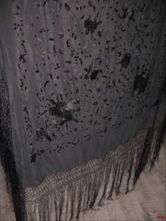 ANTIQUE VICTORIAN SILK EMBROIDERED Roses PIANO MOURNING DRESS SHAWL