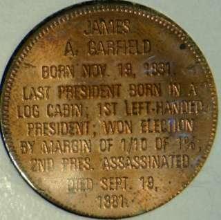 Garfield Franklin MINT Commemorative Bronze Medal   Token   Coin
