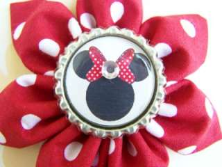 NEW Custom MINNIE MOUSE bOuTiQuE FLOWER Clip Hair Bow  Red