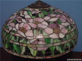 High quality Oriental poppy stained glass lamp shade