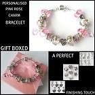 MOTHERS DAY SPARKLING PINK CHARM BRACELET WITH CRYSTAL HEARTS GIFT BOX