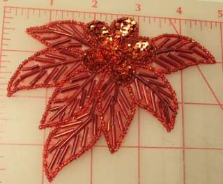 Red applique sequin flower with rhinestone center & beaded leaves 4.5