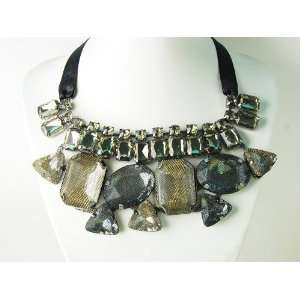 Grey Topaz Crystal Rhinestone Jewel Gem Fashion Necklace Bib Jewelry