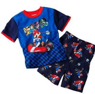 Mario Kart Wii Pajamas Shirt Shorts Size 6 8 10