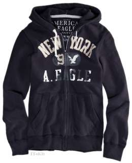 American Eagle AE Mens Applique Zip Hoodie Jacket Sweatshirt NWT