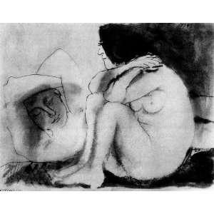 Pablo Picasso   24 x 18 inches   Hombre dormido y mujer sentada