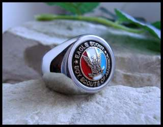 AJS © BOY SCOUTS EAGLE SCOUT RING SURGICAL STEEL  M3br