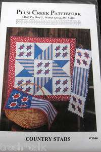 Plum Creek Patchwork Country Stars pattern table runner