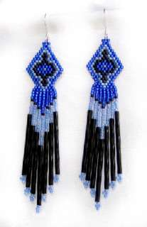 NATIVE AMERICAN BEADED EARRINGS   BLUE & BLACK