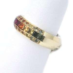 Ladies 14k Yellow Gold Rainbow Sapphire Ring