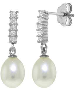 White Gold Genuine Diamonds & Cultured Pearl Dangle Drop Post Earrings