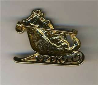 Santa Claus In Sleigh Brooch Pin Gold Tone Red & White Enamel